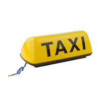12V White Shell Taxi Cab Sign Roof Top Topper Car Yellow Bright Light Lamp 11