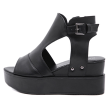 Women Summer Sandals 7cm Wedges Shoes Fashion Ankle Buckle Platform High Heel Sandals Casual Gladiator Heels Ladies Black Shoes asumer black apricot rose red fashion summer ladies shoes buckle thick platform prom shoes women high heels sandals