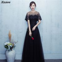 Elegant New Black O neck Lace Tulle Long Dresses For Wedding Party Summer Prom Evening Gowns 2018 Maxi Dresses vestidos Xnxee
