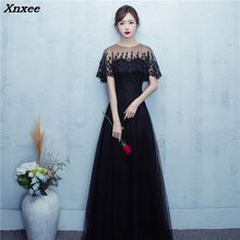 Elegant New Black O-neck Lace Tulle Long Dresses For Wedding Party Summer Prom Evening Gowns 2018 Maxi vestidos Xnxee
