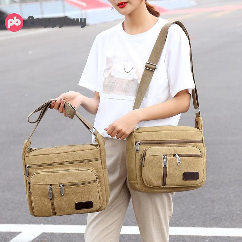 New Sale Men Canvas Handbags Single Strap Male Shoulder Bags Solid Zipper School Bags For Teenager Casual Travel Handbags 2019