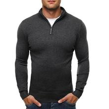 Men Zip Neck Turn Down Collar Knitwear Jumper Sweater Pullover Long Sleeve Top