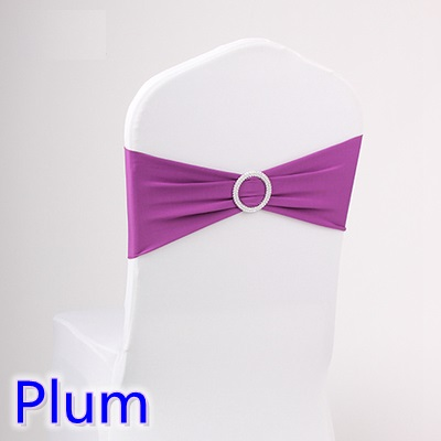 Plum colour wedding chair sash spandex band with diamond buckle for chair covers lycra bow tie spandex sash ribbon on sale