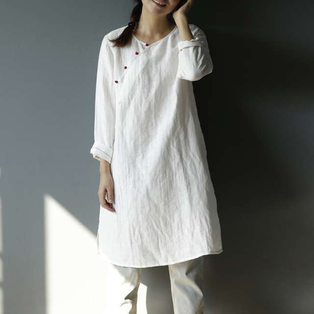 Women Blouses  2016 Autumn Style Women Tops Solid Long Sleeves Shirts Chinese Style Casual Tops Linen Shirts S43