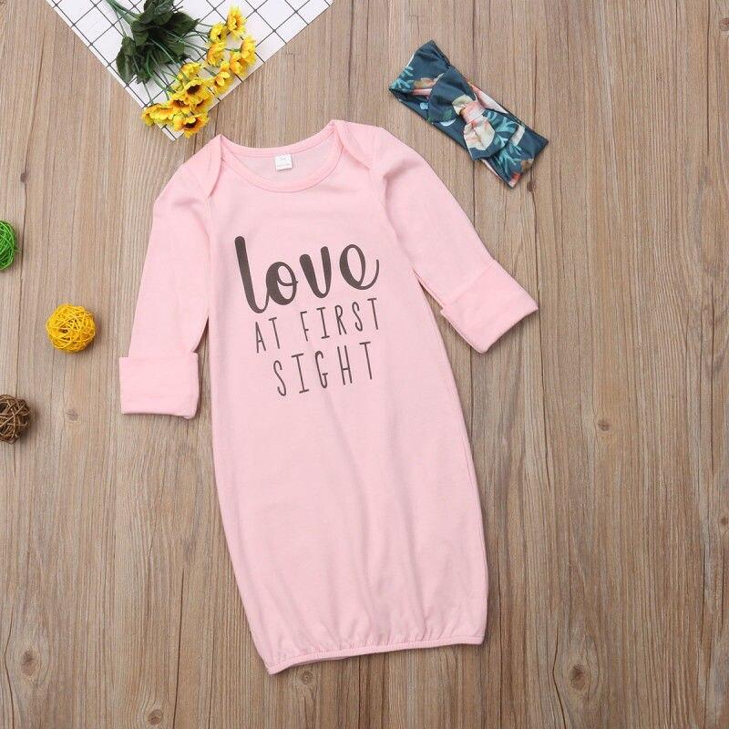 Newborn Baby Girl Boy Cotton Gown Letter Outfit Pajamas Set Sleepwear Baby Night Dress