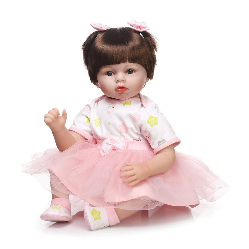 Nicery 20inch 50cm Lifelike Reborn Baby Doll Girl High Vinyl Christmas Toy Gift for Children Smile Princess Pink White Dress nicery 18inch 45cm reborn baby doll magnetic mouth soft silicone lifelike girl toy gift for children christmas pink hat close