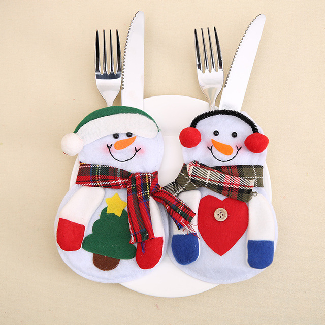 4pcs/lot Christmas Snowman Model Knives Folk Cover Cutlery Suit Silverware Holders Pockets Bag for Home Party Decor SD9
