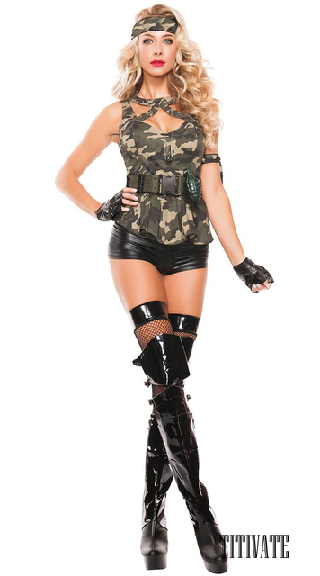 195f1dbfadcc4 TITIVATE Women Army Military Soldier Camouflage Costume Halloween Carnival  Party Masquerade Cosplay Fancy Dress PVC Leather