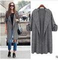 2017 весна новый дизайн пальто куртки Долго Плюс Размер Женщин осень-весна Пальто Куртки больших размеров серый повседневная пиджаки ветер куртка