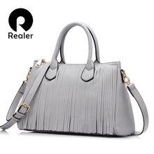 cefe04f191807 REALER ile 2017 yeni marka tasarım kadın büyük el çantası püskül  siyah/gri/beyaz kadın çanta yüksek kaliteli çanta pu deri