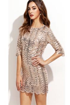 365278fd37647e FEIBUSHI Sequin Dresses Women Geometric Evening Golden Wave Lace ...