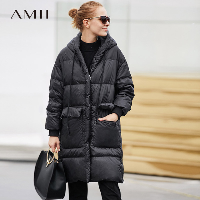 Amii Minimalist 2018 Fashion Winter Wide-waisted Big Pocket Knee Length Women 90% White Duck Down Coat with Hoodie