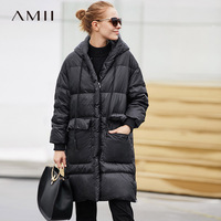 Amii Minimalist 2018 Fashion Winter Wide waisted Big Pocket Knee Length Women 90% White Duck Down Coat with Hoodie