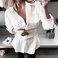 Body Sale Full Blouse Women Shirts 2017 Spring And Summer New Fashion Cross Straps Waist Slimming Thin Long-sleeved Shirt Women