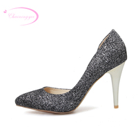Chainingyee queen nightclub sexy pointed toe pumps glitter white purple silver black high heeled shoes big size 21.5~26.5cm