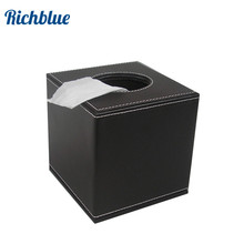 square PU leather roll tissue box cover dispenser towel napkin table decoration  dark brown color A037