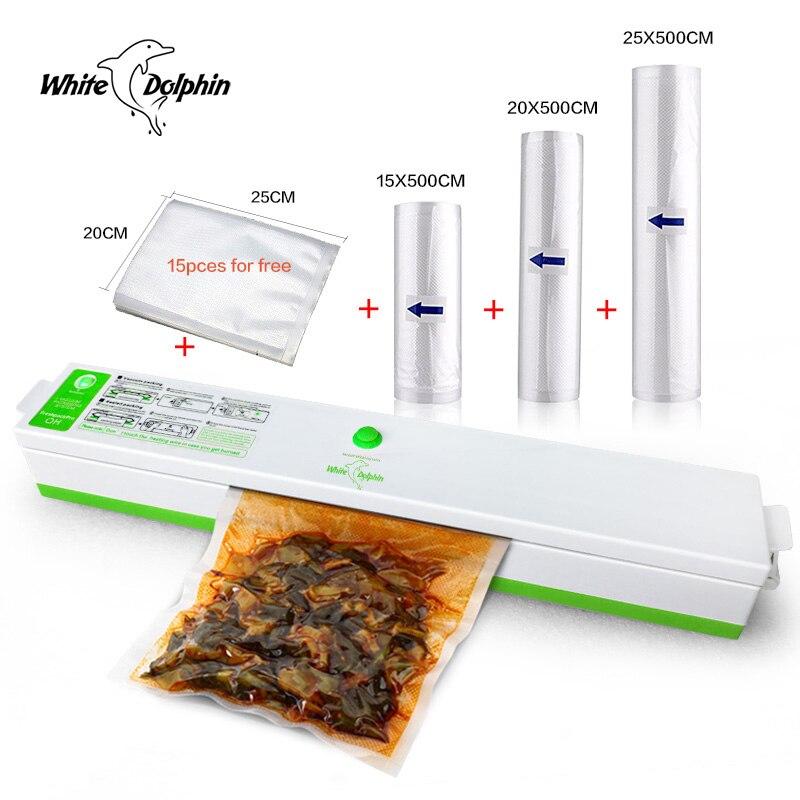 Mini Électrique Automatique Alimentaire Des Ménages Vide Scellant Machine D'emballage Emballeur Comprennent 15 pcs et 3 Rouleaux Sac Scellant Vide Packer