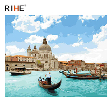 RIHE Sea Boat Diy Painting By Numbers Abstract Venice Oil On Canvas Cuadros Decoracion Acrylic Wall Picture For Room