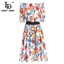 LD LINDA DELLA Fashion Two Pieces Set Women's Suit Party Sexy Off the Shoulder Elastic Top and Casual Floral Print Skirts Sets sexy off shoulder random floral print top