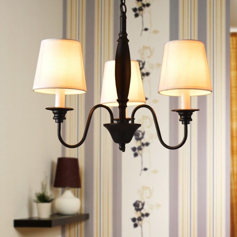 American Chandeliers Modern Lamp Living Room Bedroom Stair Light Fixtures Black Iron White Lampshade Home Lighting 110-240V