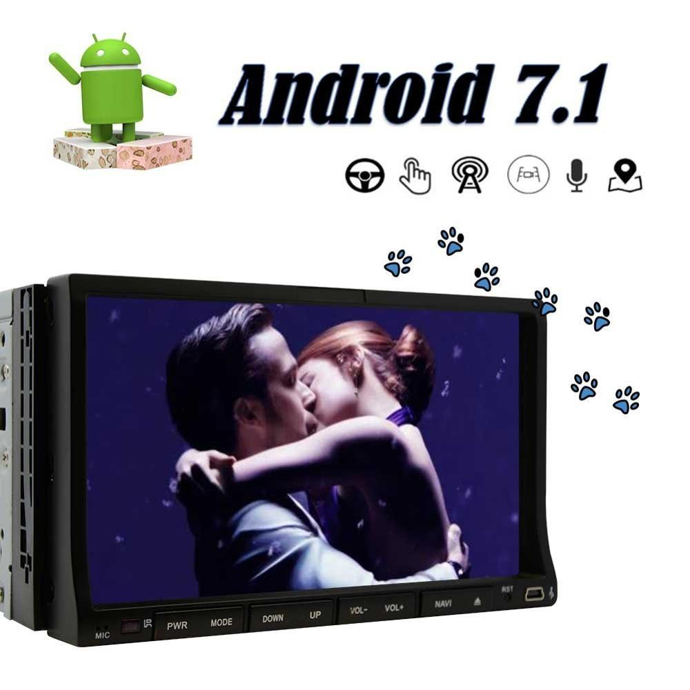 Android 7.1 Double DIN Car Stereo Car GPS Navigation 7'' Car Radio Head Unit BT WIFI SWC Octa Core 2GB 32GB ROM AM/FM+4G Dongle ct0012 android 6 0 car stereo 2 din quad core head unit 7 2gb 16gb car radio touch screen bluetooth wifi fm car gps navigation