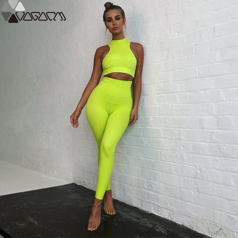 Summer Women 39 s New Fluorescent Color Two Piece Sleeveless Vest Trousers Yoga Sports Suit Fitness Running Mujer High Waist Wear