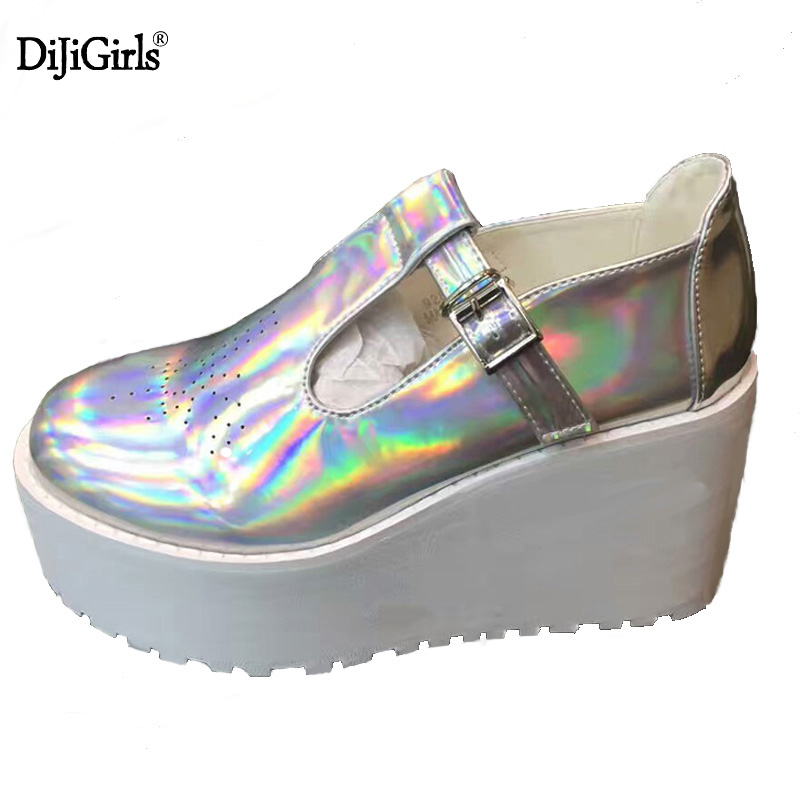 2017 Women Platform Shoes Genuine Leather Lace Up Casual Shoes Flats Creepers Laser Hologram Harajuku Punk Shoe Creeper Girls qmn women laser cut genuine leather platform flats women square toe height increasing brogue shoes woman flats creepers 34 39