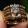 Victoria Wieck Jóias Vintage Pear Cut 14KT Yellow Gold Filled branco Sapphire CZ de Casamento Do Diamante Mulheres Anel gift set Tamanho 5-11