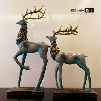 Zhaocai deer ornaments jewelry study American TV cabinet office Home Furnishing living room decoration, wedding gift