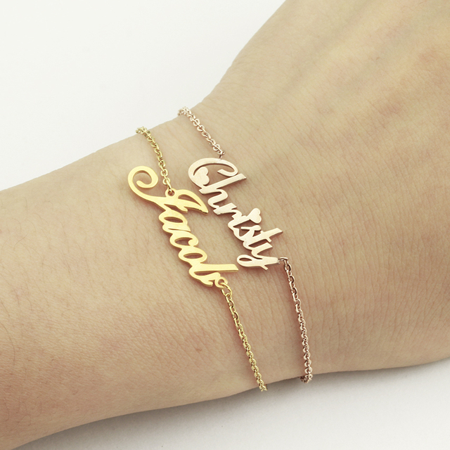 Stainless Steel Custom Personalized Name Bracelet Gold Color Customized Engraved Handwriting Nameplate For Women Kids