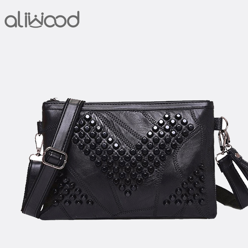 Diamond Genuine Leather Women Messenger Bag Rivet Female Crossbody Bag Clutch Bag Ladies Purse Handbags Shoulder Bags Bolsas Sac
