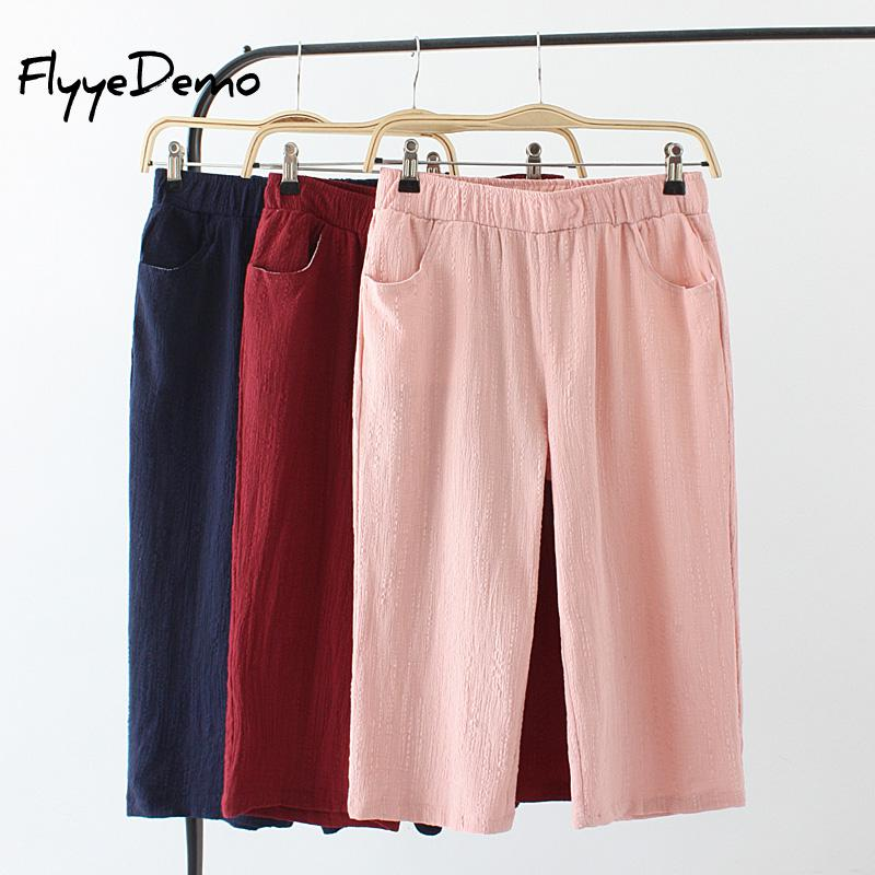 2019 Summer Autumn New Linen   Pants   Women Calf Length Harem   Pants   Casual Elastic Waist   Pants     Capris   Trousers Plus Size XL - 4XL