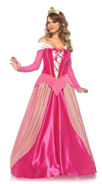 S-XL Adult Women Pink Princess Dresses Sleeping Beauty Costume Long Sleeve Aurora Cosplay Fairy Tale Princess Party Dress