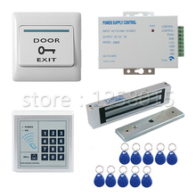 125KHz RFID White Controller Access Control Kit for 1 door control+180kg magnetic lock+door switch+power+10 RFID Key Fobs