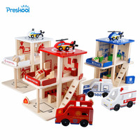 Montessori Kids Toy Role Play Fire Department Police Station Game Preschool Brinquedos Juguets