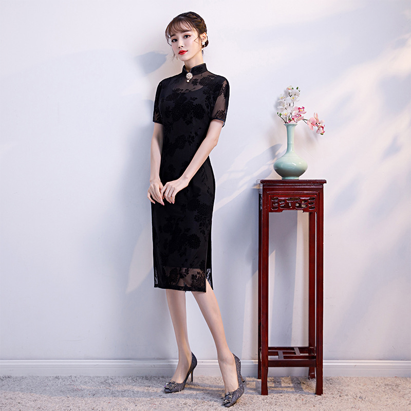 Black Lace Women Sexy Summer Evening Dress Retro Mandarin Collar Cheongsam  Elegant Slim Chinese Style Long Qipao Oversize 3XL