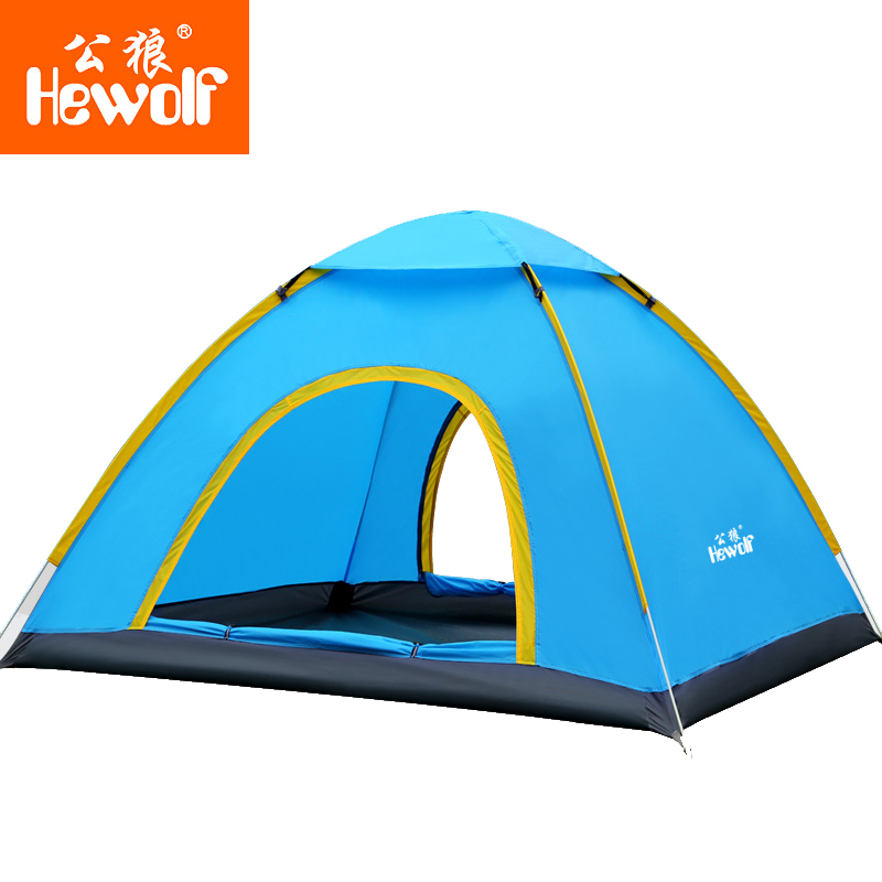 Hewolf throwing hand speed automatic open Tent Waterproof Camping Tent Single Layer Portable UV-resistant 2 Person Fishing Tent high quality outdoor 2 person camping tent double layer aluminum rod ultralight tent with snow skirt oneroad windsnow 2 plus