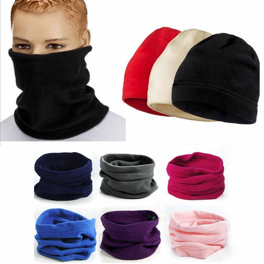 e4a4d87cf81 ... Cold Weather Polar Fleece Wool Thermal Neck Gaiter Tube Warmer Half  Face Mask Winter Snowboard Scarf ...