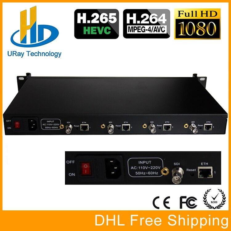 URay 4 Channels HEVC H265 HD-SDI 3G-SDI IPTV Encoder Streaming SDI To IP Encoder Server UDP Multicast SDI Encoder Hardware H264 hd h 265 hevc avc 1u 4 channels hdmi dvb t encoder modulator for ip stream to vlc media server xtream codes