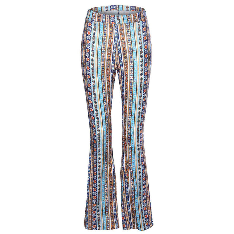 2018 Women Striped Printed New Boho Flare Pants High Elastic Waist Vintage Soft Stretch Ethnic Style