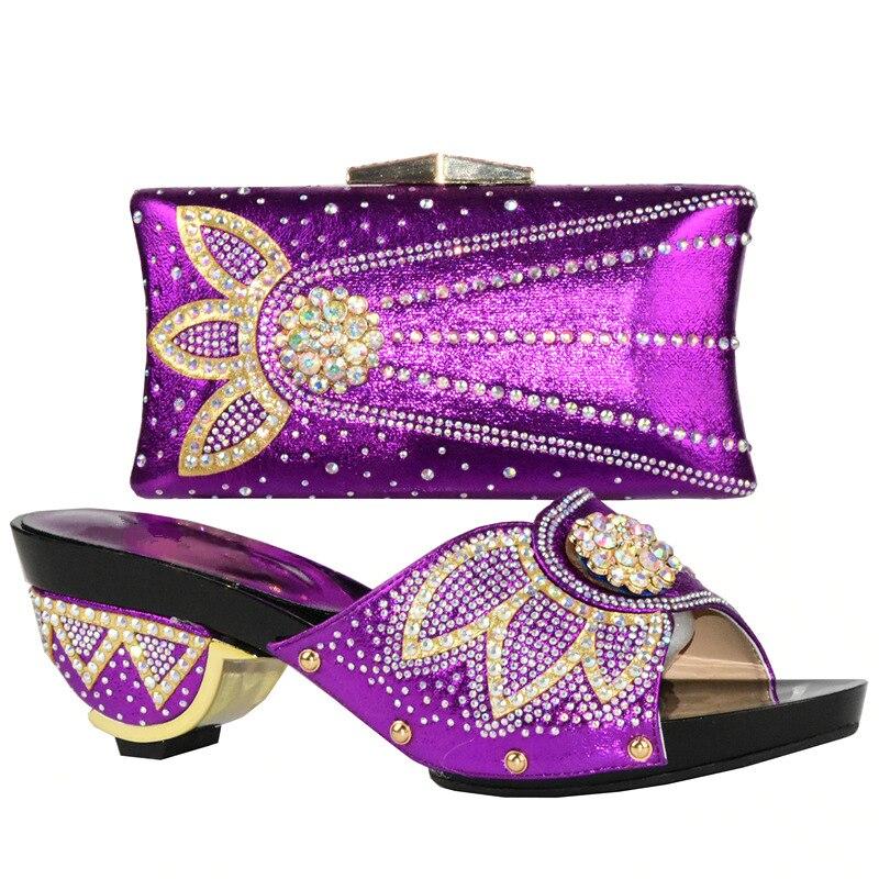 Tasche Strass Damen Mit Schuh Schuhe purpurrot Afrikanische Italienischen Und rosa Hochzeit Für Verziert Sets Set Gold Frauen silber gfPq5