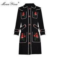 MoaaYina модельер взлетно посадочной полосы платье Весна Для женщин 3/4 рукав цветочной вышивкой роскошный жемчуг Бисер Винтаж элегантное плать
