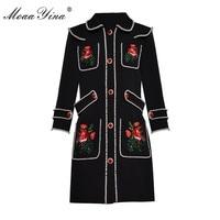 MoaaYina Fashion Designer Runway Dress Spring Women 3/4 Sleeve Floral Embroidery luxurious Pearl Beading Vintage Elegant Dress