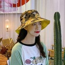 Women Fashion hat Concise Casual Cartoon Pattern Cute Travel Folding Double Wear Sunscreen Bucket Hat stylish multicolor stripe pattern bucket hat for women