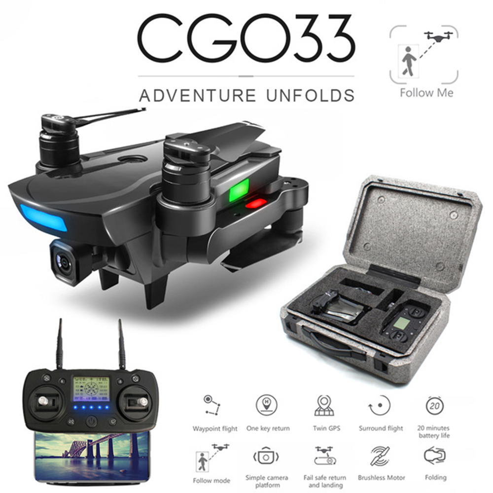 AOSENMA CG033 1KM WiFi FPV HD 1080P Gimbal Camera GPS Brushless Foldable RC Drone Quadcopter RTF