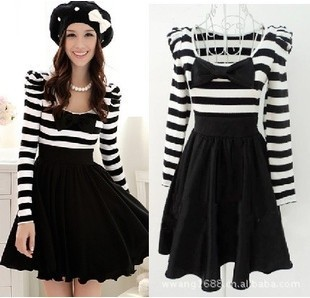 96a2f6d2c837 Free Shipping 2012 spring autumn black white stripe contract color sweet  cute women