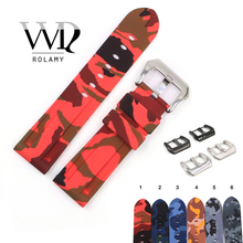 Rolamy 22 24mm Camo Red Black Grey Waterproof Silicone Rubber Replacement Watch Band Loops Strap For Panerai Luminor