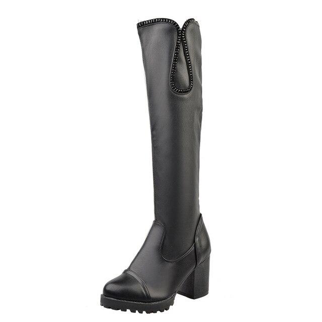 7ba0b2130c Invierno 2017 de La Moda Sobre La Rodilla Botas Altas botas Largas de  Plataforma para mujer ...