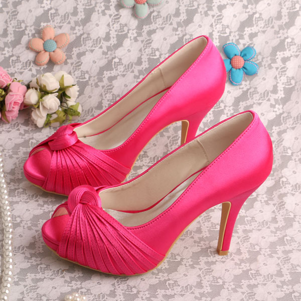 341607cf9831 20 Colors Wedding Shoes Hot Pink Prom Shoes Platform Pumps Peep Toe  Dropshipping