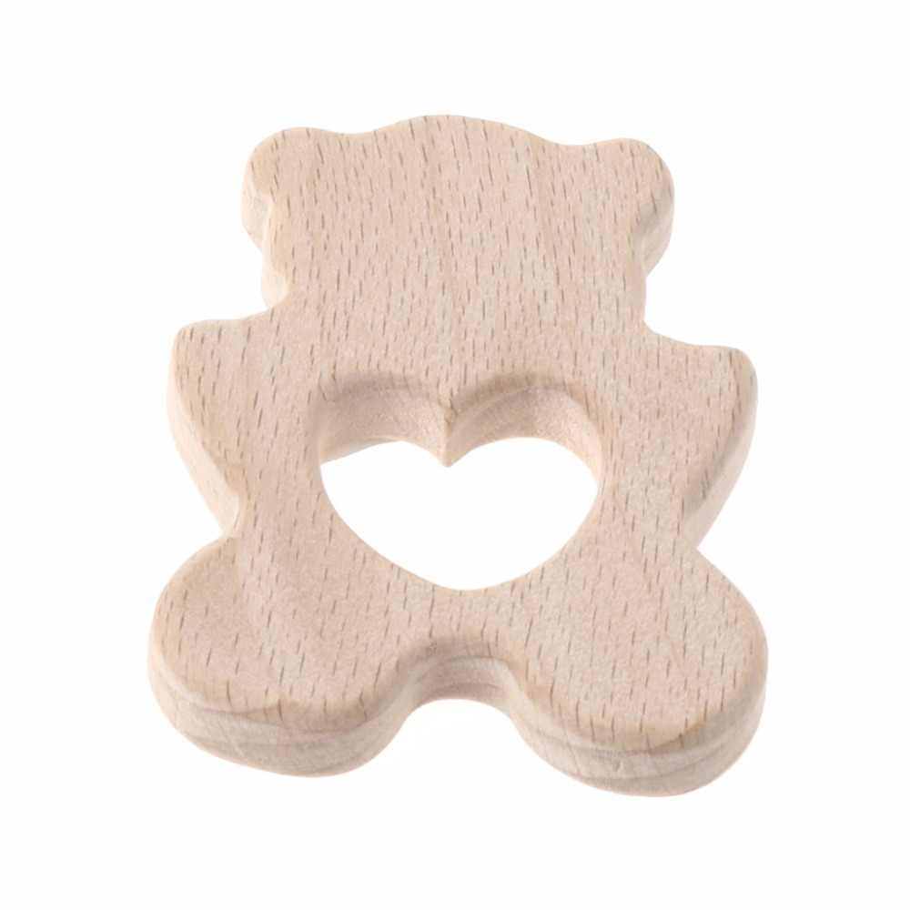 Baby Wooden Teething Relief Toy Nature Organic DIY Flower/Cloud/Fox/Polar Bear Nursing Holder Teether N21